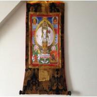 藏传佛教用品 手编布镀金(烫金)唐卡佛像 千手观音菩萨 长125cm