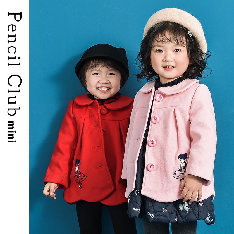 【3件价:79.8元】铅笔俱乐部童装2019秋冬装新款女童呢子外套女小童长袖外套儿童上衣