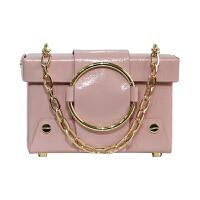 盒子包小方包包女新款圆环包女斜挎包复古女包单肩小包 粉色