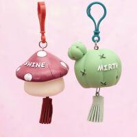 钥匙扣女款创意简约多肉蘑菇汽车钥匙挂件高档韩国钥匙链可爱圈环