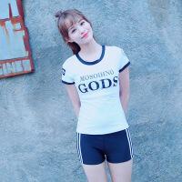 游泳衣女分体两件套平角裤短袖韩国温泉学生显瘦遮肚保守泳装8815