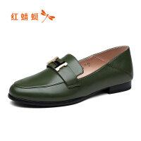 【书香节特卖 领�涣⒓�100】红蜻蜓真皮女鞋新款时尚小皮鞋韩版百搭甜美平底休闲单鞋