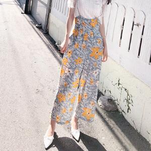 谜秀休闲裤女2018夏装新款韩版修身碎花背带长裤阔腿薄款裤子夏潮