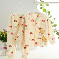 新生婴幼儿童小孩宝宝春秋冬季加绒保暖套装法兰珊瑚绒睡衣家居服