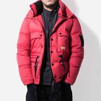 冬季韩版潮流80绒白鸭绒连帽羽绒服加厚户外保暖外套男