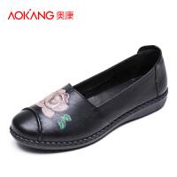 奥康妈妈鞋软底中老年女鞋平底防滑老太太单鞋皮鞋