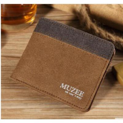 男士钱包短款 学生零钱包 休闲卡包帆布钱夹 2折横款票夹 品质保证 售后无忧 支持货到付款