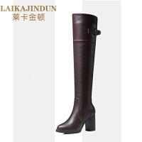 黑色皮面高筒靴女士过膝靴2018新款秋冬季粗跟靴子长筒靴高跟长靴SN8297