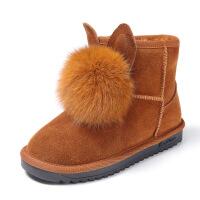 №【2019新款】冬天小朋友穿的女童雪地靴真毛儿童靴子女童短靴子女童棉靴中大童