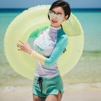 2017新款韩国长袖分体泳衣女运动平角保守防晒遮肚显瘦学生游泳衣 长袖三角裤两件套