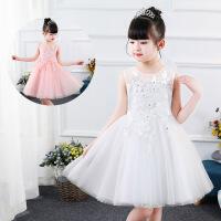 女童夏季背心连衣裙儿童礼服裙粉色公主裙蓬蓬纱演出服白色夏裙子