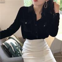 秋冬季新款黑色丝绒双口袋打底衫上衣宽松Polo领长袖衬衫衬衣女装 黑色 均码