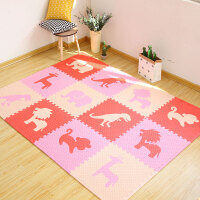 婴儿童拼接拼图地垫卧室泡沫地板垫子宝宝爬行垫子60x60加厚 米色粉红 全图