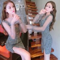 秋装新款韩版两件套性感透视网纱打底衫吊带开叉显瘦连衣裙冬