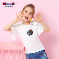 【每满100减50】铅笔俱乐部童装女童2018夏季新款短袖T恤女孩体恤上衣喇叭袖t恤