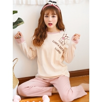 女士睡衣长袖学生清新春秋可外穿两件套韩版宽松家居服套装