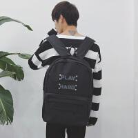 男生双肩包帆布时尚休闲高中生书包新款旅行电脑背包学生潮流个性