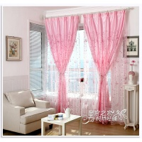 紫色窗帘欧式绣花纱帘客厅卧室飘窗粉色蝴蝶成品打孔