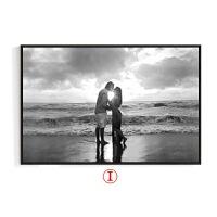 黑白电表箱装饰画上翻式现代简约客厅挂画遮挡配电箱壁画浪漫海景