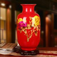 景德镇陶瓷器 中国红麦秆国画牡丹富贵花瓶 现代中式婚礼装饰摆件