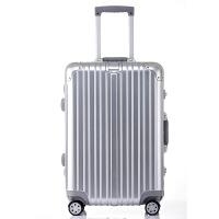 拉杆箱万向轮铝框20英寸登机密码箱24行李箱男女旅行箱百搭轻便情侣款复古铝框拉杆箱 钻石款 太空银