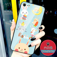 苹果6plus手机壳7plus卡通玻璃iphone8防摔潮牌7p女款个性创意6s镜面保护套苹果8pl