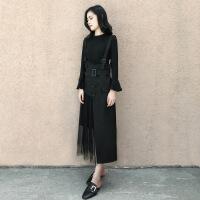 2019早春新款女装韩版气质两件套裙子喇叭袖背带长裙黑色连衣裙女 黑色