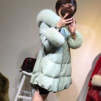 2018新款海宁 羽绒服女中长款韩版狐狸毛外套绵羊皮衣显瘦