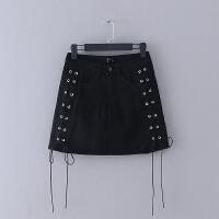 550 夏季新款修身绑带纯色牛仔裙半身裙女式黑色短裙