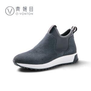 青婉田靴子女冬款2018新款休闲百搭短靴女平底套筒及裸靴
