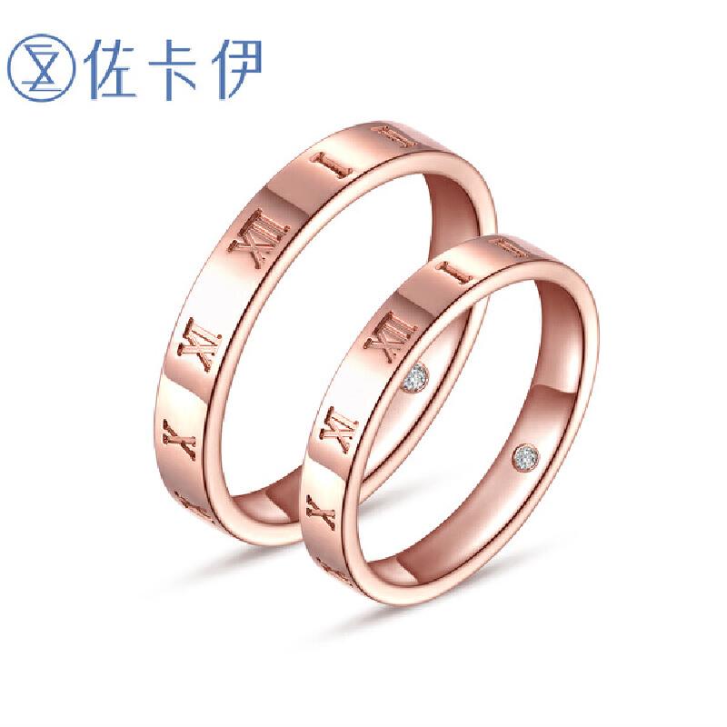 佐卡伊 玫瑰18K金钻石戒指对戒时光系列新品钻戒男戒女戒时光系列