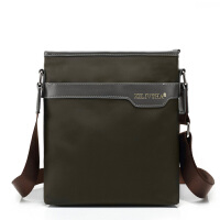 男士包包休闲单肩包男斜挎包男包防水尼龙挎包帆布包包竖款潮背包 咖啡色