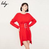 【限时一口价347元】全场叠加100元券 Lily女装中国红收腰不对称长袖针织连衣裙119120B7304