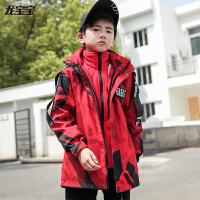 童装男童外套冲锋衣三合一可拆卸大童户外秋冬款加绒风衣