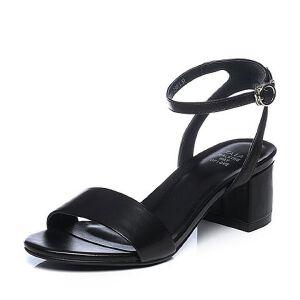 Tata/他她2018夏羊皮革通勤简约一字带粗高跟女凉鞋S2A13BL8