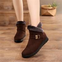 ����棉鞋冬平底保暖老人棉靴加�q保暖加厚短靴中老年女鞋防滑靴子 棕色 G08