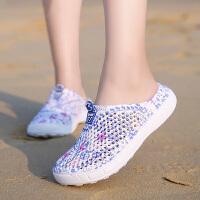 沙滩鞋女拖鞋海边包头半托鞋夏天沙滩鞋透气凉鞋拖鞋女洞洞鞋