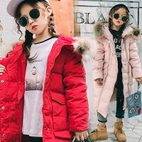 女童棉衣2017冬季新款童装中大童中长款棉服外套儿童外套冬装连帽毛领加厚保暖外套  SSD三拉链棉衣