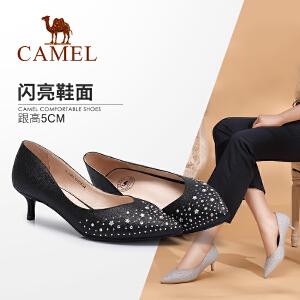 Camel骆驼女鞋 2018春季新款 通勤尖头高跟鞋时尚性感浅口细跟女单鞋
