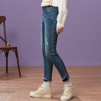 【1件3折到手价:55.5】美特斯邦威牛仔裤女秋季新款磨白紧身牛仔裤韩版九分小脚裤