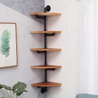 铁艺三角实木搁板墙角书架墙上置物架搁架扇形壁挂墙壁转角收纳架