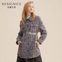 【开学季 到手价:320元】毛呢外套女迪赛尼斯时尚韩版格子中长款大衣