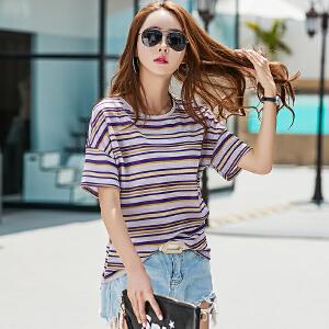 SOOSSN 2018秋装新款女装气质显瘦韩版V领喇叭袖t恤长袖上衣女士T恤6065