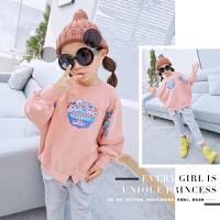 秋装新款女童装卫衣女中大童衣服韩版儿童蝙蝠袖秋款上衣套头