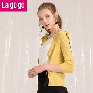 Lagogo2018夏季新款可脱卸蝴蝶结系带针织衫V领九分袖开衫外搭潮HAMM733C22
