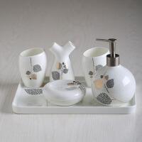 创意结婚礼物 欧式陶瓷卫浴五件套装浴室用品刷牙漱口杯套件