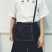 韩国韩版简约手拿包信封包学院复古水洗皮单肩斜挎包女包