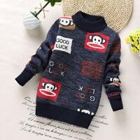 男童加绒毛衣加厚宝宝中大童儿童冬季新款学生男孩保暖针织毛线衣