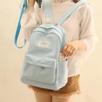 NR诺然 新品书包双肩高中生双肩包女韩版简约纯色小清新防水背包