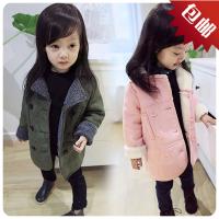 18秋冬新款中小童女童装翻毛拼接长款儿童外套大衣B6-A8